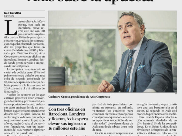 La Vanguardia publica las previsiones de Axis Corporate