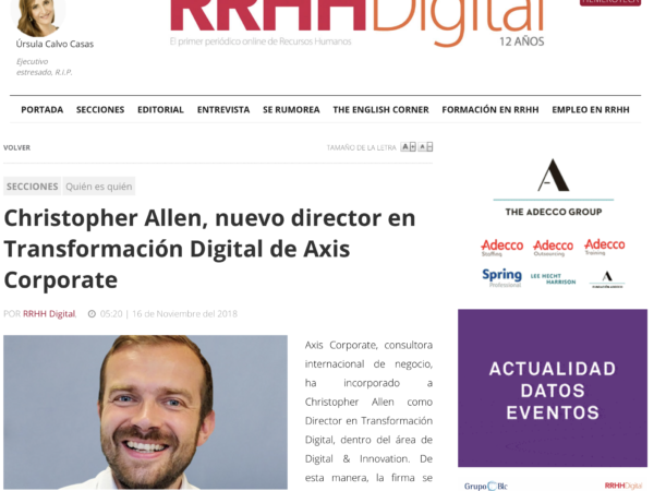 Nombramiento de Christopher Allen como director en Transformación Digital