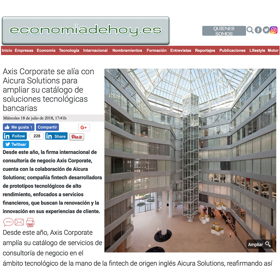 Media Appearance -Axis Corporate partnership with Aicura Solutions to accelerate change, Economia De Hoy