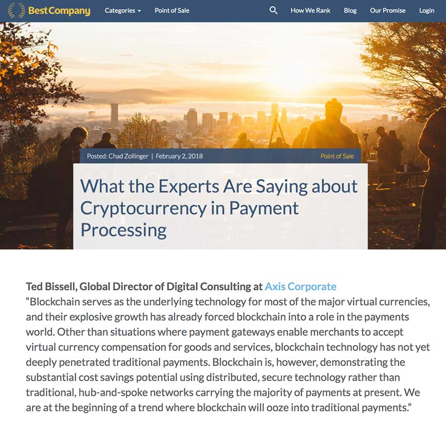 BestCompany.com – What the Experts Are Saying about Cryptocurrency in Payment Processing